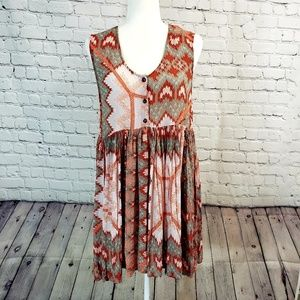 Free People Boho tank dress. Orange&taupe Medium